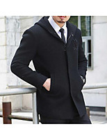 Men's Casual/Daily Simple Coat,Solid Long Sleeve Fall / Winter Black Wool Medium