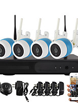 YanSe® 4CH Wireless 1.0MP IR IP Camera NVR Kit 720P HDMI P2P WiFi IP66 Waterproof CCTV System