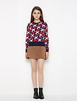 Women's Casual/Daily Simple / Cute Regular PulloverPrint Multi-color Round Neck Long Sleeve Cashmere Fall / Winter