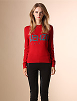AOKNI Women's Round Neck Long Sleeve Sweater & Cardigan Red-5001