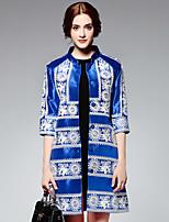 На каждый день Вышивка Пальто Воротник-стойка,Очаровательный Синий Рукав ½,Другое,Средняя