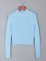 Women's  Regular PulloverSolid Blue / Black Round Neck Long Sleeve Acrylic Fall Medium Micro-elastic