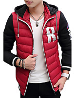 Пальто Простое Обычная На подкладке Мужчины,Однотонный / Контрастных цветов / Буквы На каждый день / Спорт / Большие размерыХлопок /
