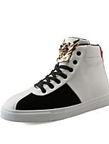 Men's Fashion Boots Casual High Top PU / Suede Shoes Party & Evening Flat Heel Lace-up Black / White Walking EU39-43