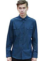 Men's Casual/Daily / Work Simple / Active Fall / Winter ShirtSolid Shirt Collar Long Sleeve Blue Cotton Medium