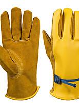 cuir PU couleur jaune gants de protection de l'huile
