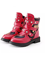 Girl's Boots Winter Comfort PU Dress / Casual Flat Heel Magic Tape / Zipper Black / Pink / Red Walking