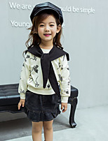 Girl's Casual/Daily Floral Hoodie & Sweatshirt / Skirt / Clothing SetCotton Spring / Fall White