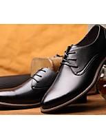 Черный / Коричневый-Мужской-Для офиса / На каждый день-КожаУдобная обувь-Туфли на шнуровке