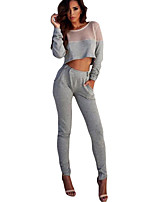 Grey Sporty Mesh Insert Crop Top and Pant Set