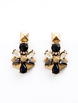 European Luxury Gem Geometric Earrrings Leaf Shape Drop Earrings for Women Fashion Jewelry Best Gift