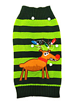 Cat / Dog Sweater Green Dog Clothes Winter Reindeer Cute / Christmas