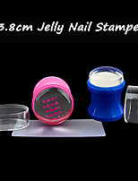 Plastic 3.8cm Silicone Jelly Clear Refill Head Nail Stamper Scraper Set with Cap DIY Nail Polish Printing Transfer Tools