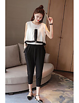 Women's Casual/Daily Simple Summer Blouse Pant Suits,Solid Round Neck Sleeveless White / Black Others Thin