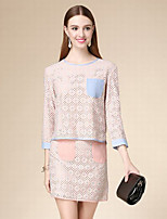 DOF Women's Casual/Daily Simple Fall Set SkirtSolid Round Neck Long Sleeve Pink Cotton Medium