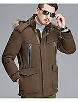Men's Regular Down Coat,Simple Casual/Daily Solid-Polyester White Duck Down Long Sleeve Standing Collar Red / Brown
