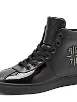 Hombre-Tacón Plano-Confort-Zapatillas de deporte-Exterior Informal Deporte-Microfibra-Negro Rojo Blanco
