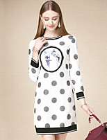 Women's Casual/Daily Simple Shift Dress,Polka Dot Round Neck Above Knee Long Sleeve White Cotton Fall High Rise Inelastic Thin