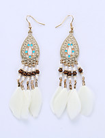 Drop Earrings Earrings Jewelry Alloy Fashion Feather White Black Coffee Blue Jewelry Wedding Party Halloween Daily 1 pair