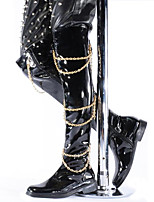 Men's Boots Spring/Fall/Winter Cowboy/ Western Boots / Fashion Boots Patent Leather Party & Evening /Casual Chain Black