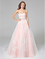 Lanting Bride® Ball Gown Plus Sizes Wedding Dress - Elegant & Luxurious Open Back Chapel Train Strapless Lace / Satin / Tulle