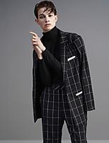 DL.FANG Women's Work Simple Spring / Fall BlazerPlaid Notch Lapel Long Sleeve Black Rayon / Polyester Thick