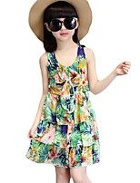 Girl's Going out Print Dress,Cotton / Polyester Summer Blue / Pink