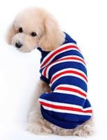 Katzen / Hunde Kostüme / Mäntel / Pullover / Smoking Rot / Blau Hundekleidung Winter / Frühling/Herbst StreifenNiedlich / Cosplay /
