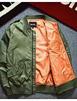 Мужчины На каждый день Однотонный Куртка Воротник-стойка,Простое Осень Синий / Черный / Зеленый Длинный рукав,Полиэстер