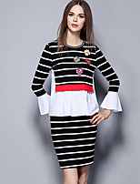 Women's Going out Street chic Skirt Suits,Striped / Embroidered Round Neck Long Sleeve Black Polyester