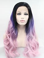 Sylvia синтетический парик фронта шнурка черные корни фиолетовый три тона волос ломбера тепла волосы устойчивы длинные волны Natual