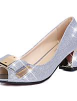 Серебристый / Золотистый-Женский-Для праздника-Полиуретан-На толстом каблуке-Удобная обувь-Сандалии
