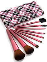 9 Makeup Brushes Set Synthetic Hair Professional / Portable Wood Face / Eye / Lip