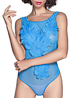 Women Teddy Lace Lingerie Nightwear,Sexy Solid-Thin Lace Spandex White Blue Black