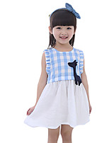 Girl's Casual/Daily Plaid Dress,Cotton Summer Blue / Red