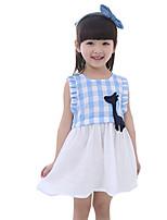 Vestido Chica de-Casual/Diario-Escocés-Algodón-Verano-Azul / Rojo