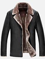Men's Plus Size / Casual/Daily Simple Leather Jackets,Solid Long Sleeve Red / Black / Brown Wool