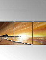 Hand-Painted Abstract / Landscape 100% Hang-Painted Oil Painting,Modern / European Style Three Panels Canvas Oil Painting For Home