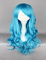 High Quality Synthetic Wave Bright Blue Anime Cosplay Lolita Wig