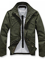 Men's Casual/Daily Simple Jackets,Solid Stand Long Sleeve Fall / Winter Black / Green Cotton Medium
