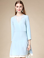 DOF Women's Casual/Daily Simple Sheath DressSolid Round Neck Above Knee  Sleeve Blue Cotton Fall High Rise Inelastic