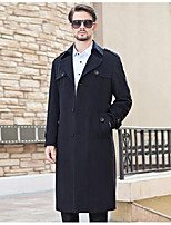 Men's Casual/Daily Simple Coat,Solid Long Sleeve Fall Blue Wool Medium