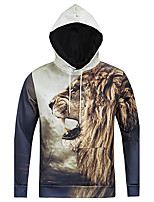 Men's Casual/Daily Simple Regular HoodiesAnimal Print Gray Round Neck Long Sleeve Polyester Fall Medium Micro-elastic