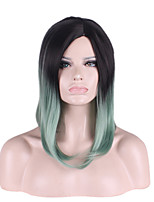 Synthetic Natural Wigs Ombre Black/Green Medium Wigs for Women Costume Wigs Cosplay  Capless Wigs