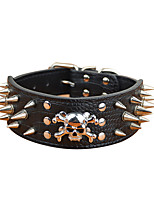 Dog Collar Adjustable/Retractable / Studded Skull Red / Black / Gold PU Leather