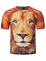 Men's Casual Daily Punk Hip-hop Wind Summer Dimensional Graffiti Lion Printing Round Neck Short Sleeve Thin T-shirt