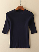Tee-shirt Jupe Costumes Femme,Rayé Sortie / Décontracté / Quotidien simple Printemps / Automne ½ Manches Col Arrondi BleuCoton /
