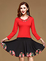 Latin Dance Outfits Training Milk Fiber / Modal Ruffles 2 Pieces Long Sleeve Natural Top / Skirt