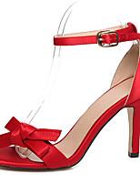 Damen-Sandalen-Kleid / Lässig / Party & Festivität-Kunstleder-Stöckelabsatz-Knöchelriemen / Fersenriemen-Schwarz / Blau / Rot