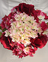 Set of 1 PCS 1 Une succursale Polyester Roses / Hortensias Fleur de Table Fleurs artificielles 9.4